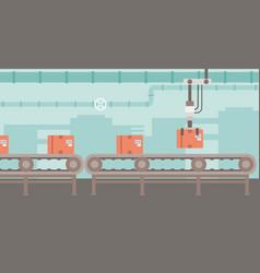 Robotic packaging conveyor belt vector