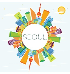 Seoul Skyline with Color Buildings vector image vector image