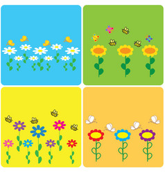 set of colored stickers with spring motifs vector image