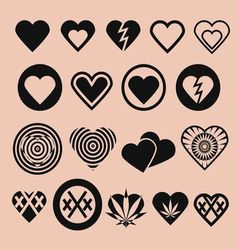 Set of various heart icons vector