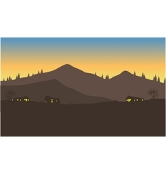 Silhouette of house below the mountain vector