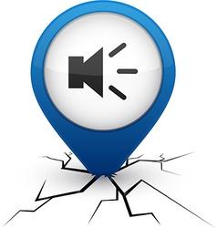 Sound blue icon in crack vector