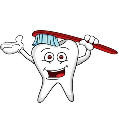 tooth cartoon character with brush vector image vector image