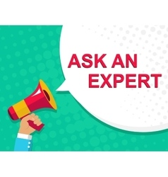 Megaphone with ask an expert announcement flat vector