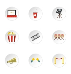 Movie theater icons set flat style vector