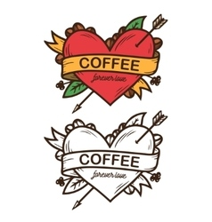 Coffee forever love hand drawn poster vector