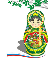 Russian doll in green outfit brunette the branch vector