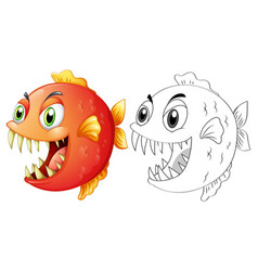 doodle animal for fish vector image