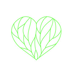 Heart composition divided with green lines vector