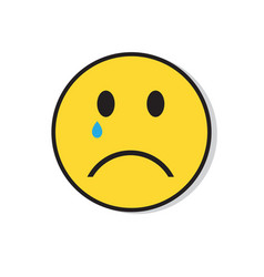 yellow sad face cry negative people emotion icon vector image