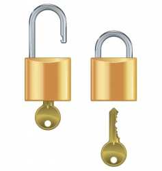 Open and closed padlock set vector