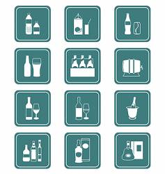Drinks icons  teal series vector