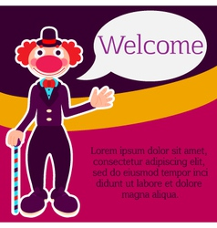 Background with happy greeting clown in costume vector