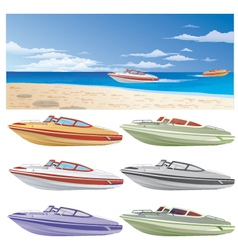 Boats and beach vector