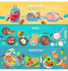 Home cooking flat banners set vector
