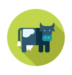 Cow flat icon with long shadow vector