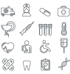 Medical icons thin line icons set vector