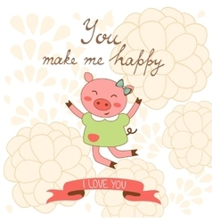 You make me happy romantic card with cute jumping vector