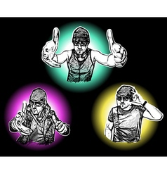 Three djs vector