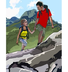 Cartoon tourists man and woman with backpacks vector