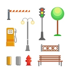 Street element icons set bench hydrant vector