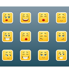 Emoticon smile stickers set vector