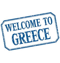 Greece - welcome blue vintage isolated label vector
