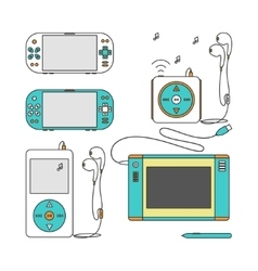 Gadget line icons vector