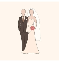 Bride and groom pastel silhouettes vector