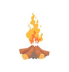 burning bonfire campfire logs cartoon vector image vector image