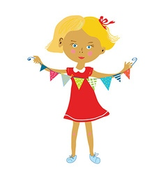 Child with buntings flags party or birthday vector image vector image
