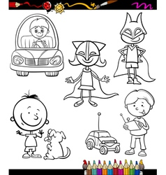 children set cartoon coloring page vector image vector image