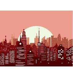 City skyline at sunset vector