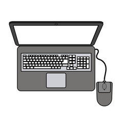 Color graphic top view laptop computer with mouse vector
