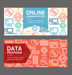 Computer online communication flyer banner posters vector