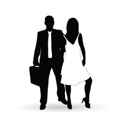 Couple silhouette in black and white color vector