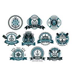 Creative seafarers or nautical logos and banners vector image vector image