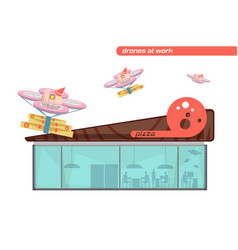 Drones flat set vector