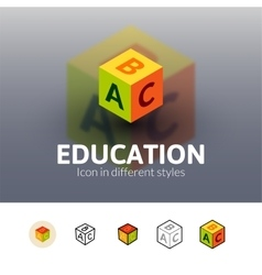 Education icon in different style vector
