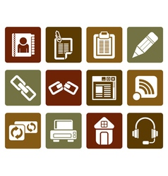 Flat internet and website icons vector