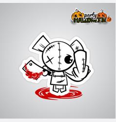 halloween evil bearvoodoo doll pop art comic vector image vector image