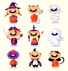 Halloween set of cute cartoon children in vector