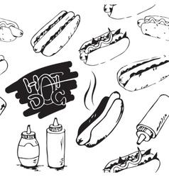 Hotdog seamless pattern vector