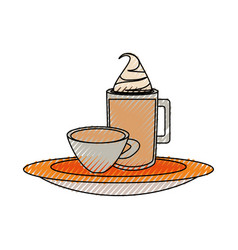 Ice coffee and coffee cup vector