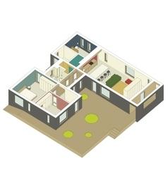 Isometric house inside vector image
