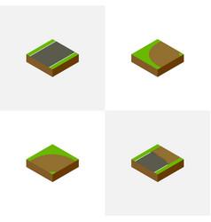 Isometric way set of turning unfinished sand vector