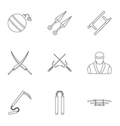 Japanese weapons icons set outline style vector