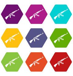 kalashnikov machine icon set color hexahedron vector image