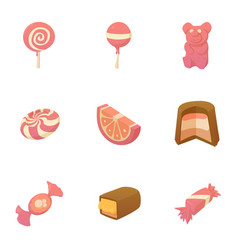 kid candy icons set cartoon style vector image