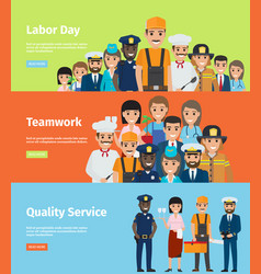 labor day teamwork and quality service info page vector image